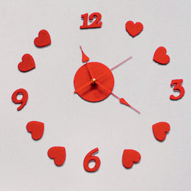Antique Acrylic Hearts Art Designer wall clock for Home and Office