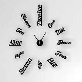 Antique Acrylic Word Numbers Art Designer wall clock for Home and Office