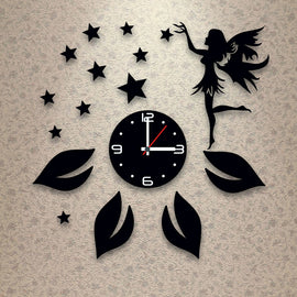 Antique Acrylic Angel n Star Art Designer wall clock for Home and Office