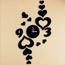Antique Acrylic Heart n Numbers Art Designer wall clock for Home and Office