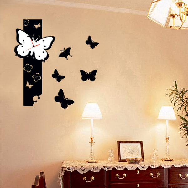 Antique Acrylic Butterflies Art Designer wall clock for Home and Office