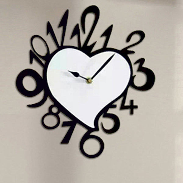 Antique Acrylic Heart Art Designer wall clock for Home and Office AS79