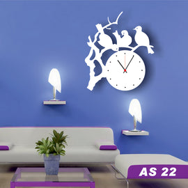 Antique Acrylic Bird and Tree Designer wall clock for Home and Office
