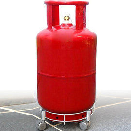 Primelife Stainless Steel Cylinder Trolley with Wheels | Gas Trolly / LPG Cylinder Stand