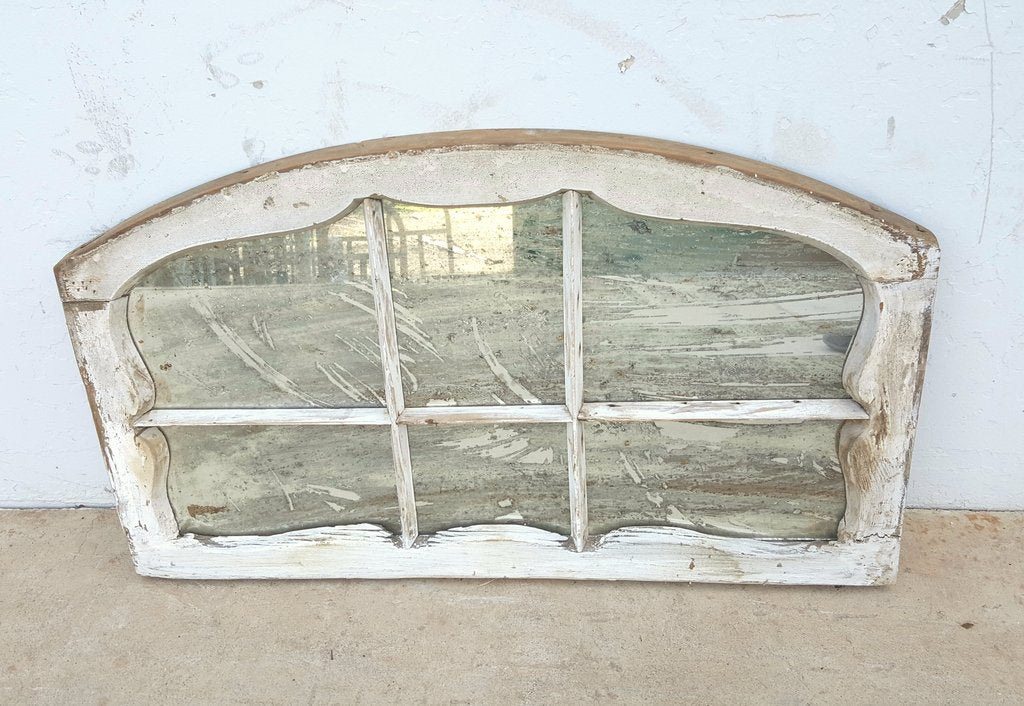 6 Pane Repurposed Arched White Wood Mirror