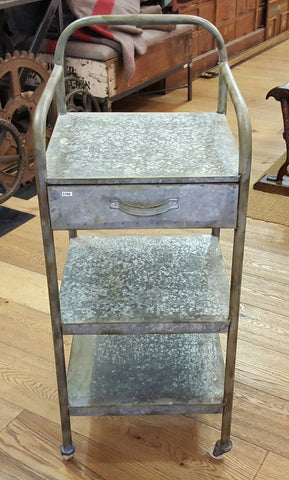 Antique Galvanized Metal 3 Tier Side Table Trolley