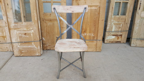 Wood and Metal Dining Chair, X Back