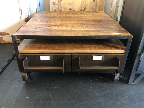 Metal and Wood Square Cart Coffee Table