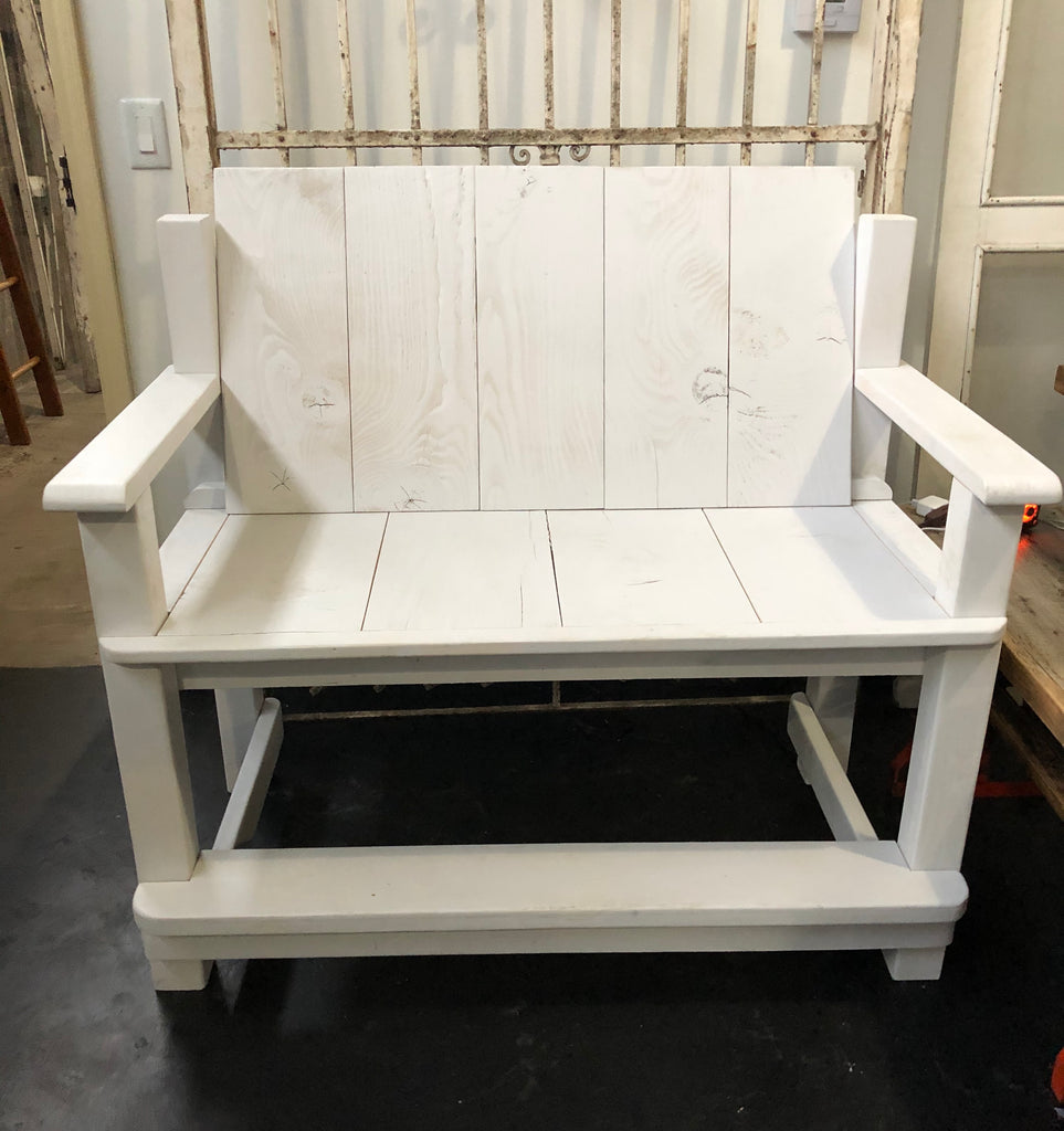 White Porch Bench Made from Reclaimed Barn Wood