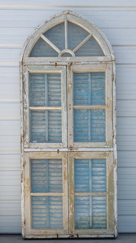 Set of White Windows and Shutters with 5 Pane Half-Round Style Transom