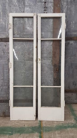 Pair of White French Doors with 3 Glass Panes