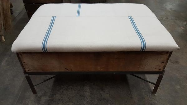 Raisin Box Ottoman with French Grainsack Top