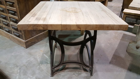 Square Butcher Block Top Table on Industrial Iron Base