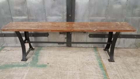 Bench with iron legs