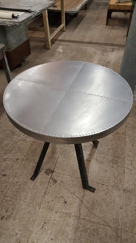 Round Metal Table with Black Metal Base