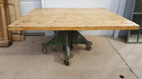 Square Wood Table with Hydraulic Base