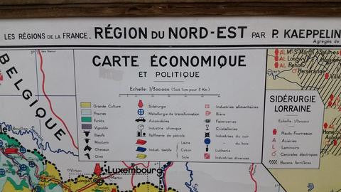 "French Map Poster Framed in Reclaimed Barn Wood; ""Region Du Nord-Est"""