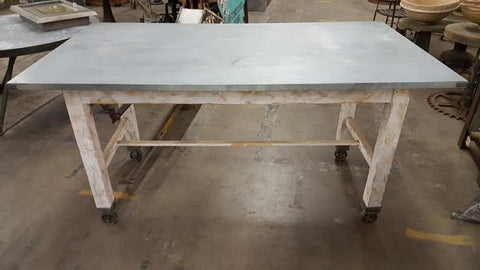 Metal Top Table with White Wood Base and Legs