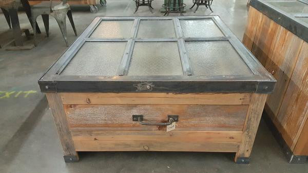Repurposed Coffee Table Using Factory Window and Barn Wood