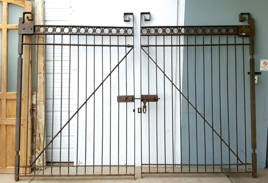 Large Pair of Iron Gates with Circle Tops