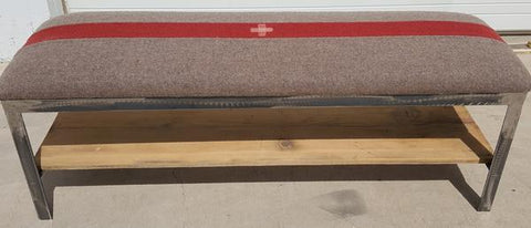 Steel and Wood Bench with Swiss Army Blanket Top