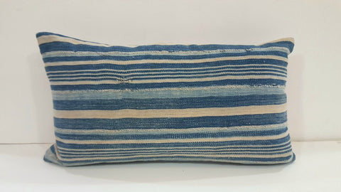 Rectangular Blue Striped Batik Pillow