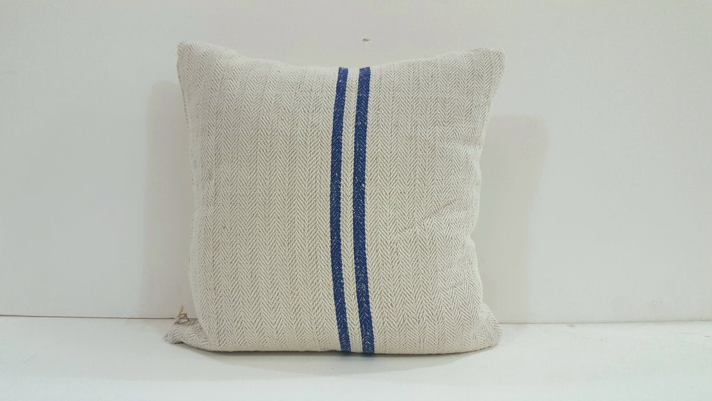 Grain Sack Pillow with Blue Stripe 19 x 23