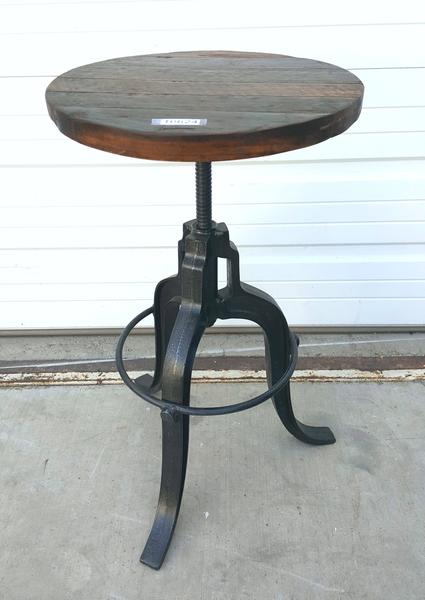 Adjustable Height Tripod Metal Stool With Wood Seat