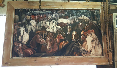 Painting of Stallions Framed in Barn Wood