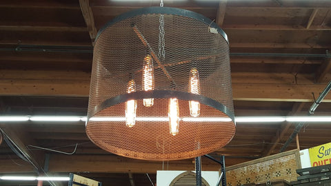 Black Metal Mesh Hanging Light