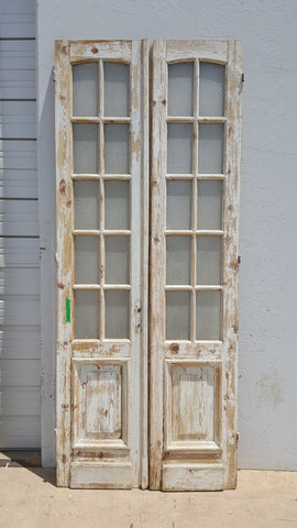 Pair of 10 Pan Glass and Wood French Doors