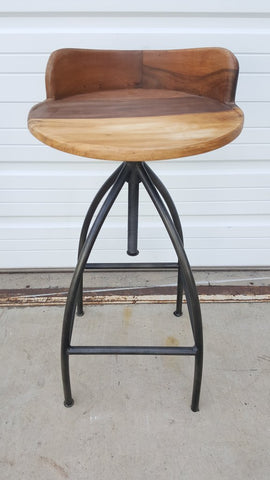 Wood and Iron Low Back Stool