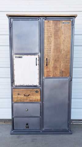 Industrial Steel and Wood Cabinet