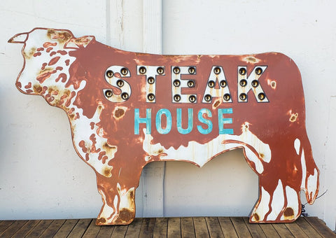 """Steak House"" Lighted Cow Sign"
