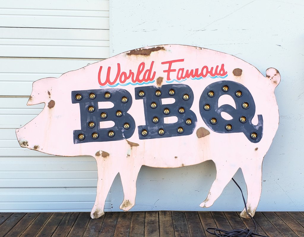 """World Famous BBQ"" Lighted Pig Sign"
