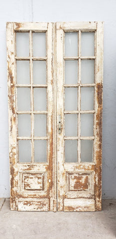 Pair of 10 Pane Painted French Doors