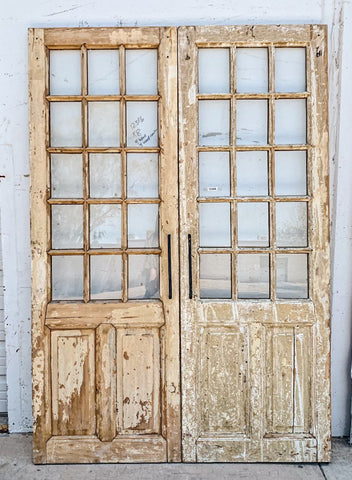 Pair of 2 Panel 15 Lite Painted Wood French Doors