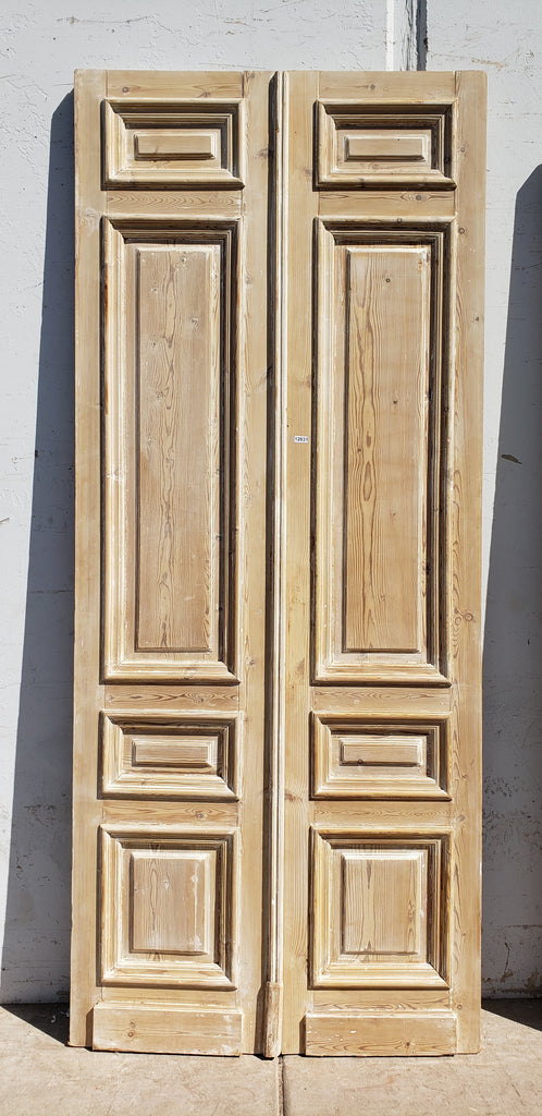 Pair of Antique 4 Panel Washed Wood Doors