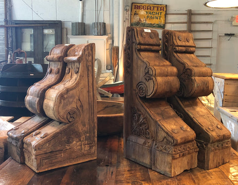 Pair Chunky Wood Corbels