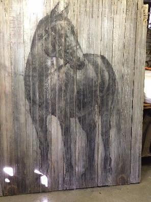 Barn Door with Hand Painted Horse