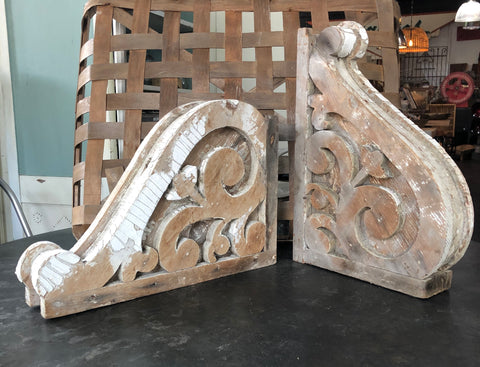 Pair Reclaimed White Corbels