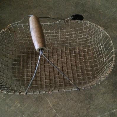 Oval French Wire Basket with Wood Handle