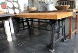Butcher Block Table Top with Black Metal Base