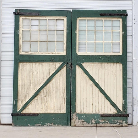Pair of 15 Lite White & Green Carriage Barn Doors