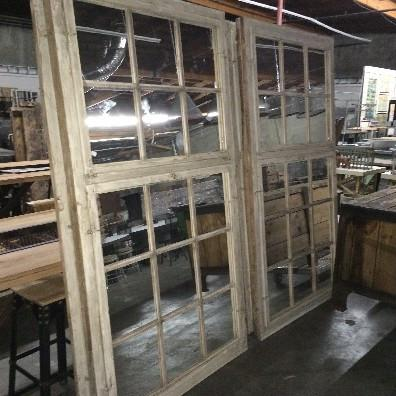 Industrial Wooden Window Mirror
