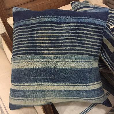 Large Blue and White Stripe Pillow
