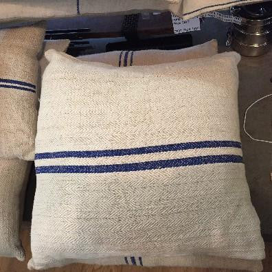 Square Pillow with Blue Stripe
