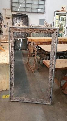 Galvanized Metal and Barn Wood Trim Dog Mirror
