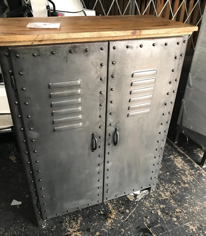 Black Iron Cabinet with Wood Top