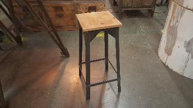 Metal Bar Stool with Square Wood Seat